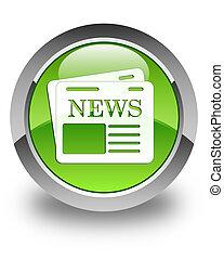 Newspaper icon glossy green round button 3