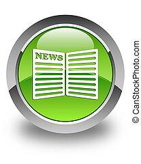 Newspaper icon glossy green round button