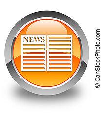 Newspaper icon glossy orange round button 2