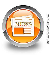 Newspaper icon glossy orange round button 3