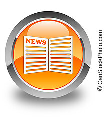 Newspaper icon glossy orange round button
