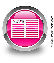 Newspaper icon glossy pink round button
