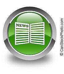Newspaper icon glossy soft green round button