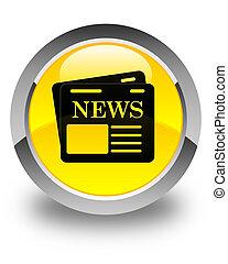 Newspaper icon glossy yellow round button