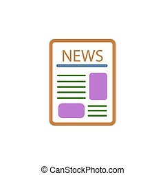 newspaper icon on a white background. vector illustration.