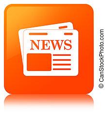 Newspaper icon orange square button