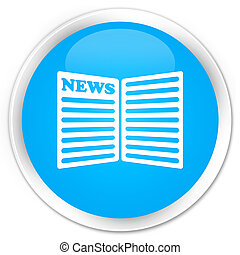 Newspaper icon premium cyan blue round button