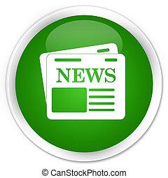 Newspaper icon premium green round button