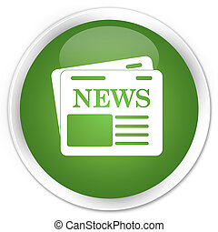 Newspaper icon premium soft green round button