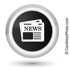 Newspaper icon prime black round button