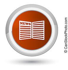 Newspaper icon prime brown round button