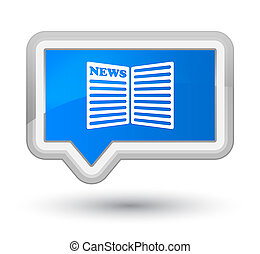 Newspaper icon prime cyan blue banner button