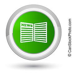 Newspaper icon prime green round button