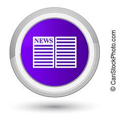 Newspaper icon prime purple round button