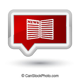 Newspaper icon prime red banner button