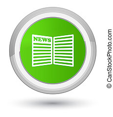 Newspaper icon prime soft green round button