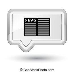 Newspaper icon prime white banner button