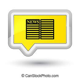 Newspaper icon prime yellow banner button