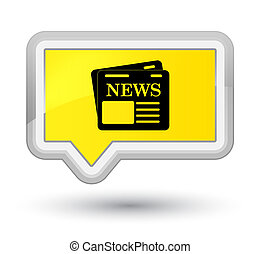 Newspaper icon prime yellow banner button