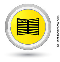 Newspaper icon prime yellow round button