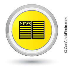 Newspaper icon prime yellow round button