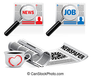 Newspaper icon set on white background