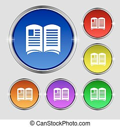 Newspaper icon sign. Round symbol on bright colourful buttons. Vector
