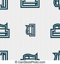 Newspaper icon sign. Seamless pattern with geometric texture. Vector