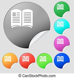 Newspaper icon sign. Set of eight multi colored round buttons, stickers. Vector