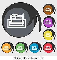 Newspaper icon sign. Symbol on eight colored buttons. Vector