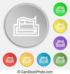 Newspaper icon sign. Symbol on eight flat buttons. Vector