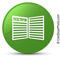 Newspaper icon soft green round button