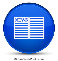 Newspaper icon special blue round button