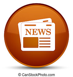 Newspaper icon special brown round button