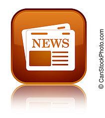 Newspaper icon special brown square button