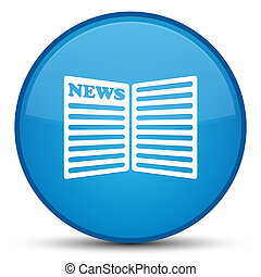 Newspaper icon special cyan blue round button