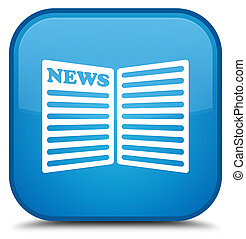 Newspaper icon special cyan blue square button