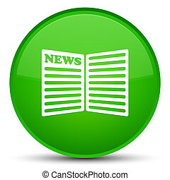 Newspaper icon special green round button
