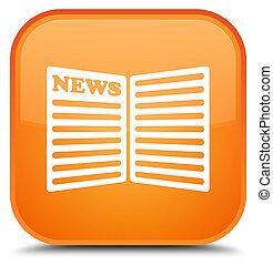Newspaper icon special orange square button