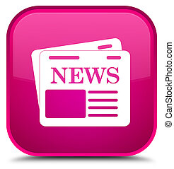 Newspaper icon special pink square button