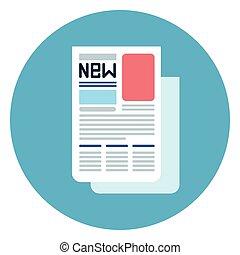 Newspaper Icon Web Button On Round Blue Background