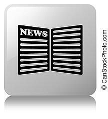 Newspaper icon white square button
