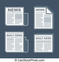 Newspaper Icons Set on Dark Background. Vector