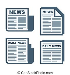 Newspaper Icons Set on White Background. Vector