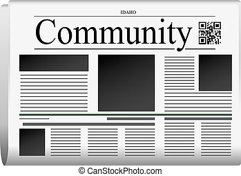 Newspaper Idaho - Community. Title page abstract of the newspaper, with the bar code.