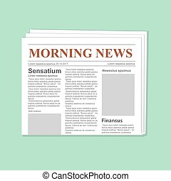 Newspaper journal vector template. Daily paper flat...