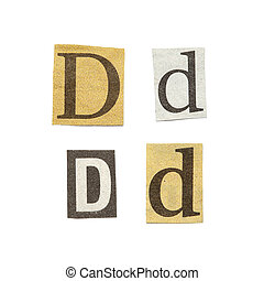 Newspaper Letters - Set of letters cut out from different...