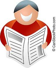happy man reading newspaper - icon people series