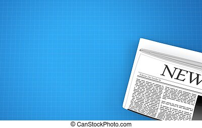 Newspaper on blueprint background