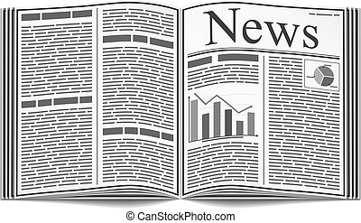 Newspaper - Open newspaper with an abstract text and graphs...